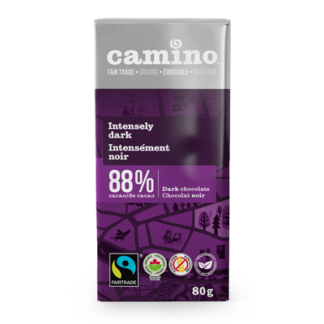 Camino Intensely dark chocolate (88%) in 80g bars is available on Rosette Fair Trade