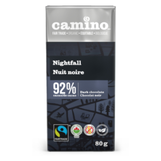 Camino Nightfall chocolate (92%) in 80g bars is available on Rosette Fair Trade