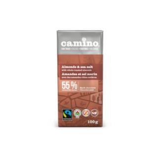 Camino almonds and sea salt chocolate bar (100g) on Rosette Fair Trade
