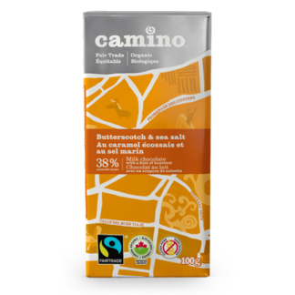 Fairtrade butterscotch and sea salt milk chocolate by Camino available on Rosette Fair Trade's online store