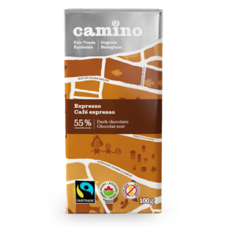 Fairtrade espresso dark chocolate by Camino available on Rosette Fair Trade online store