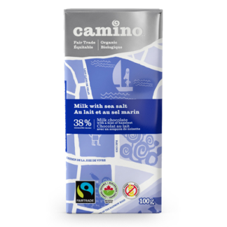 Fairtrade sea salt milk chocolate by Camino available on Rosette Fair Trade's online store