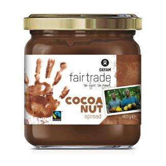 Oxfam Fair Trade chocolate hazelnut spread (similar to Nutella brand spread) on Rosette Fair Trade