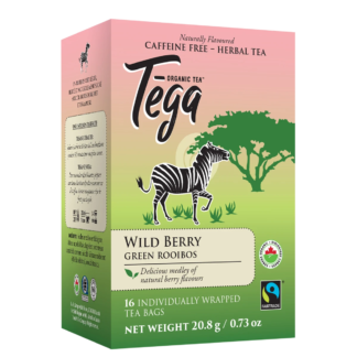 Tega Organic Teas Wildberry green rooibos fair trade organic tea on Rosette Network