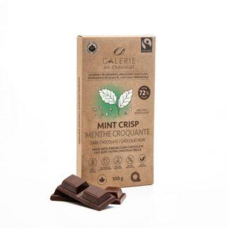 Fair trade Mint Crisp dark chocolate by Galerie au Chocolat on the Rosette Network