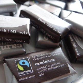 Fairtrade mini dark chocolates (55%) by Camino available on Rosette Fair Trade's online store (multiple)