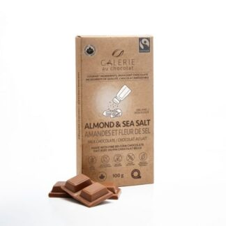 Milk chocolate almonds sea salt bar by Galerie au Chocolat (fair trade, organic) on the Rosette Network