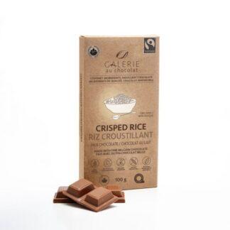 Milk chocolate crisped rice chocolate bar by Galerie au Chocolat (fair trade, organic) on the Rosette Network