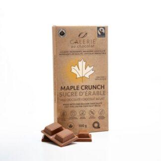 Milk chocolate maple crunch chocolate bar by Galerie au Chocolat (fair trade, organic) on the Rosette Network