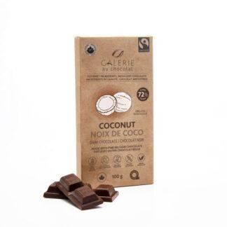 Organic coconut dark chocolate bar by Galerie au Chocolat on the Rosette Network